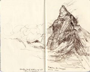 3 matterhorn ink drawing